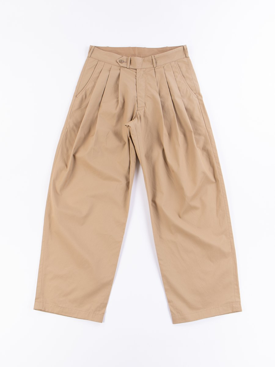Khaki Oxford Vancloth Triple Tuck Wide Pant