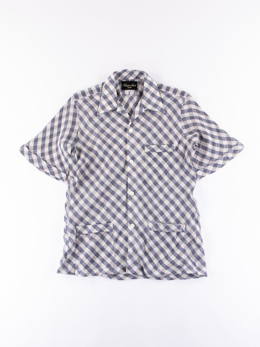 White/Navy/Grey Large Gingham Linen Shirt