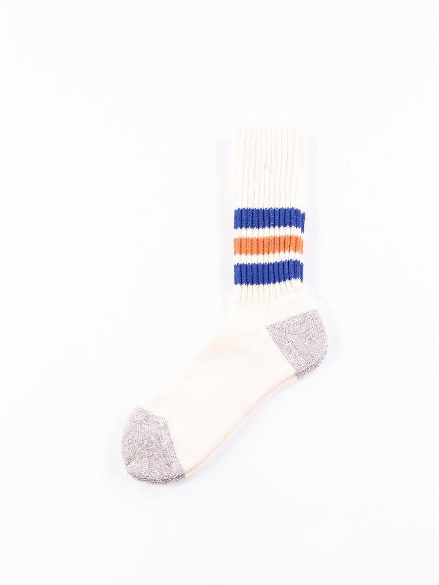 Blue/Orange Coarse Ribbed Oldschool Socks