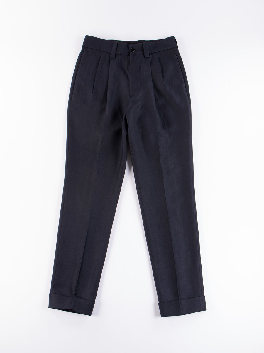 Midnight Dense Wool/Linen Twill Taper Trouser