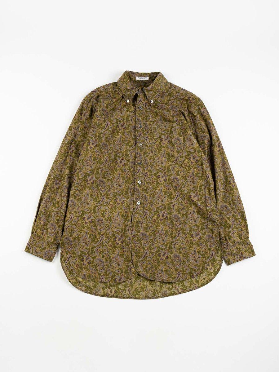 19th CENTURY BD SHIRT OLIVE/PURPLE COTTON PAISLEY SHIRT