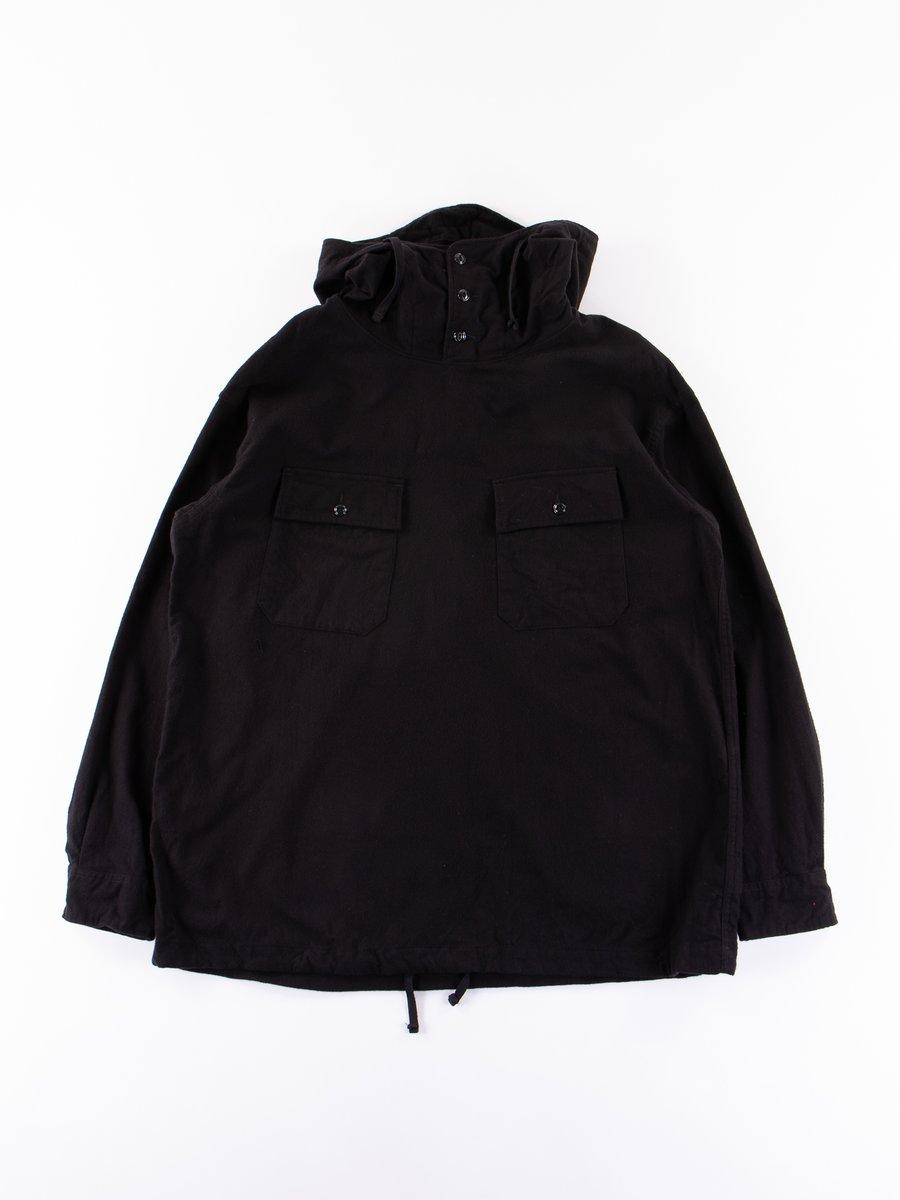 Black Cotton Flannel Cagoule Shirt