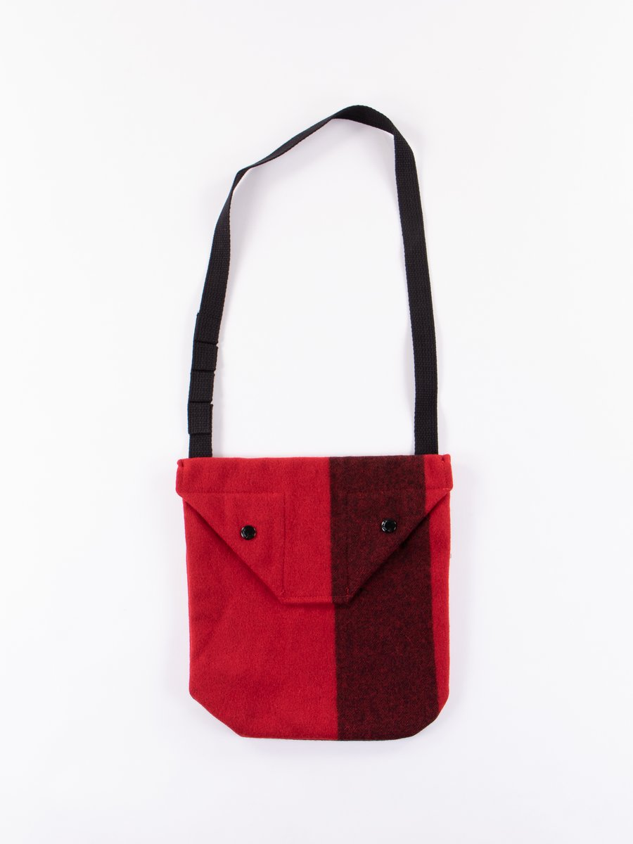 Red Big Plaid Wool Melton Shoulder Pouch