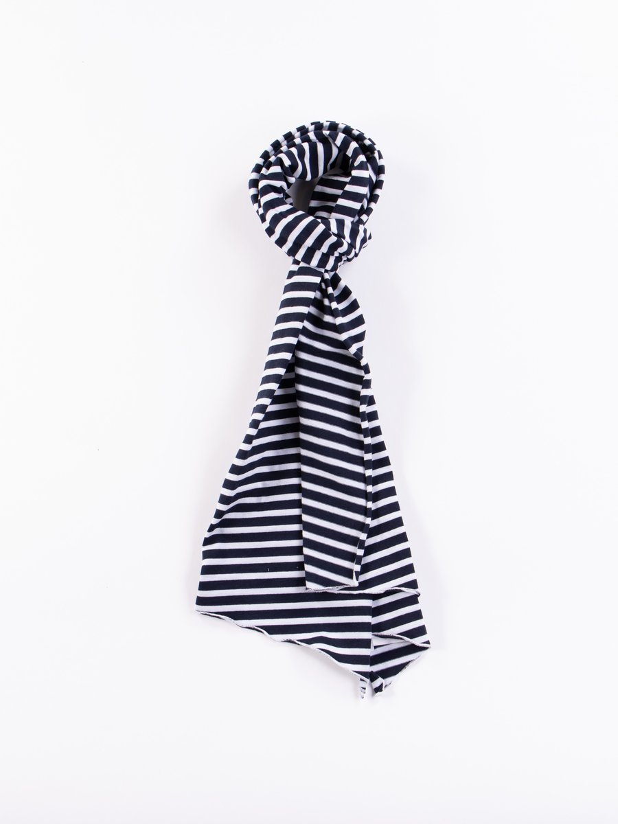 Navy/White PC Stripe Jersey Long Scarf
