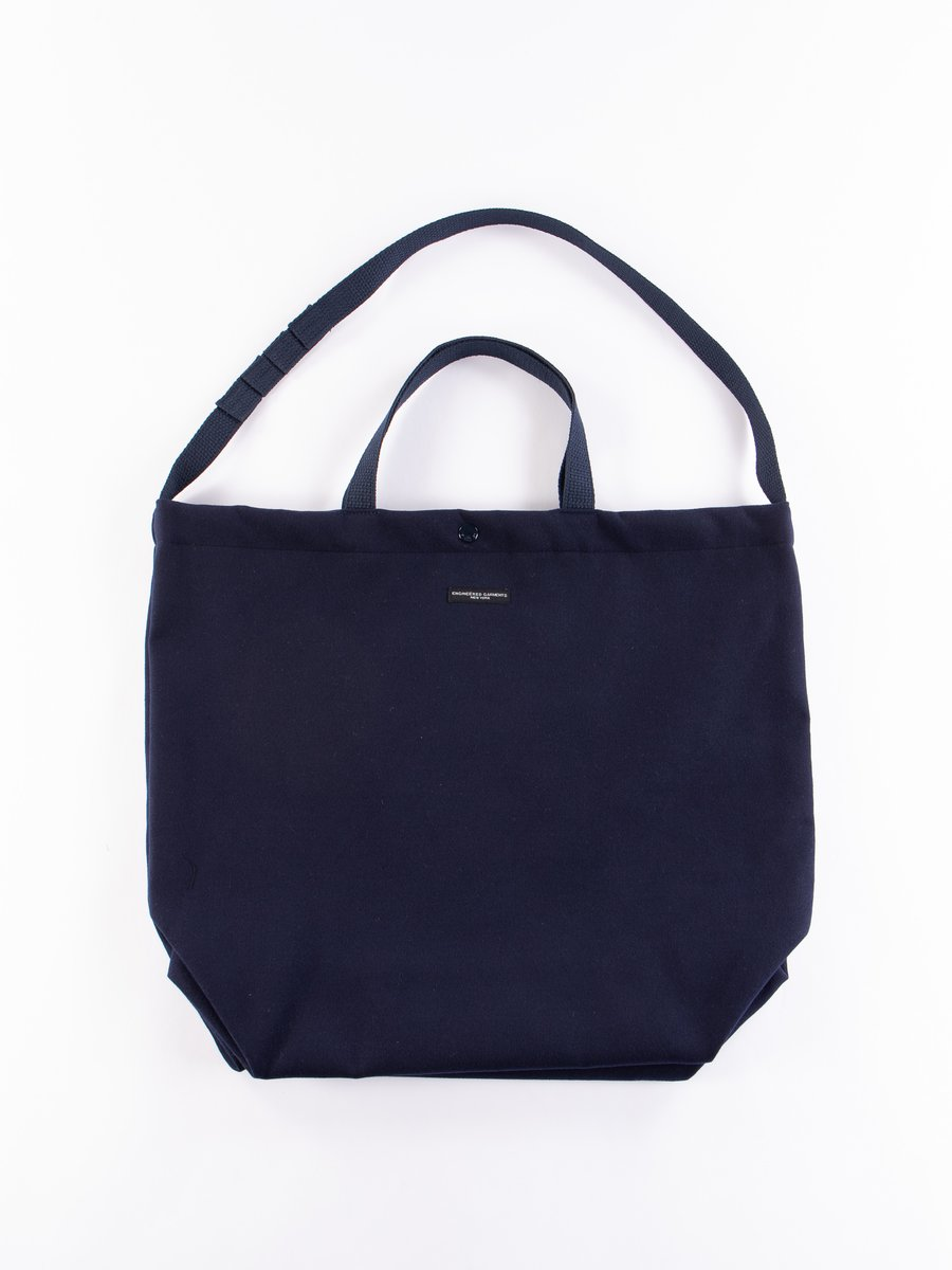 Navy Polyester Fake Melton Carry All Tote