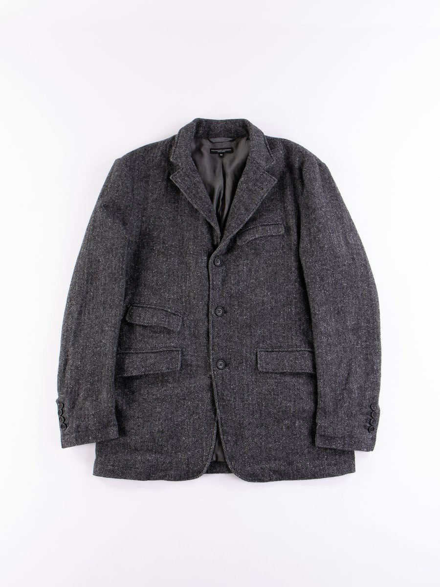Grey Poly Wool Herringbone Andover Jacket