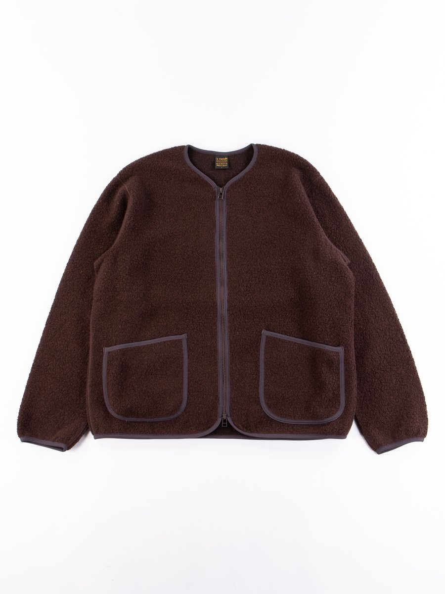 Dark Brown Wool Pile Zip Cardigan