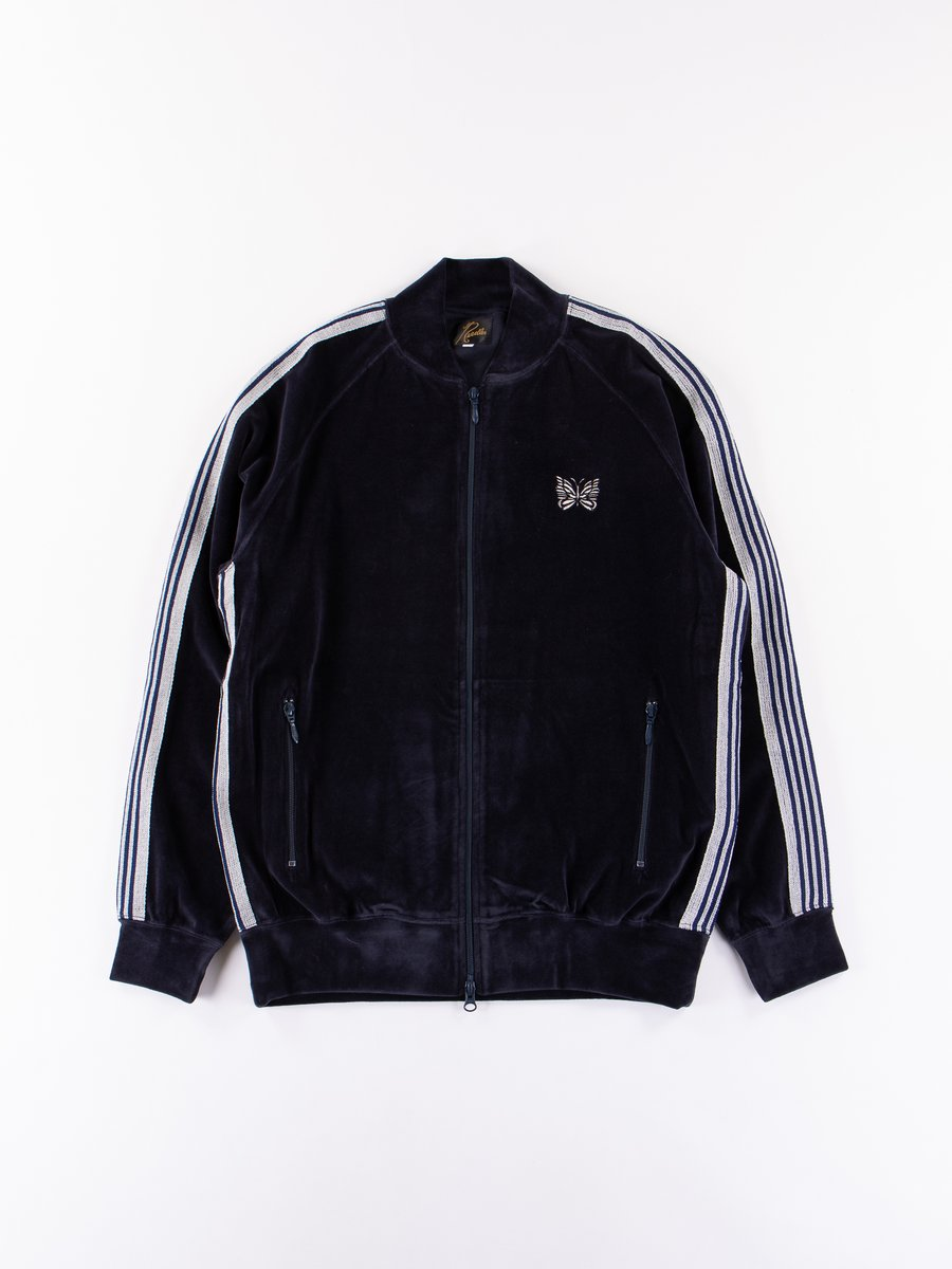 Navy Velour Rib Collar Track Jacket