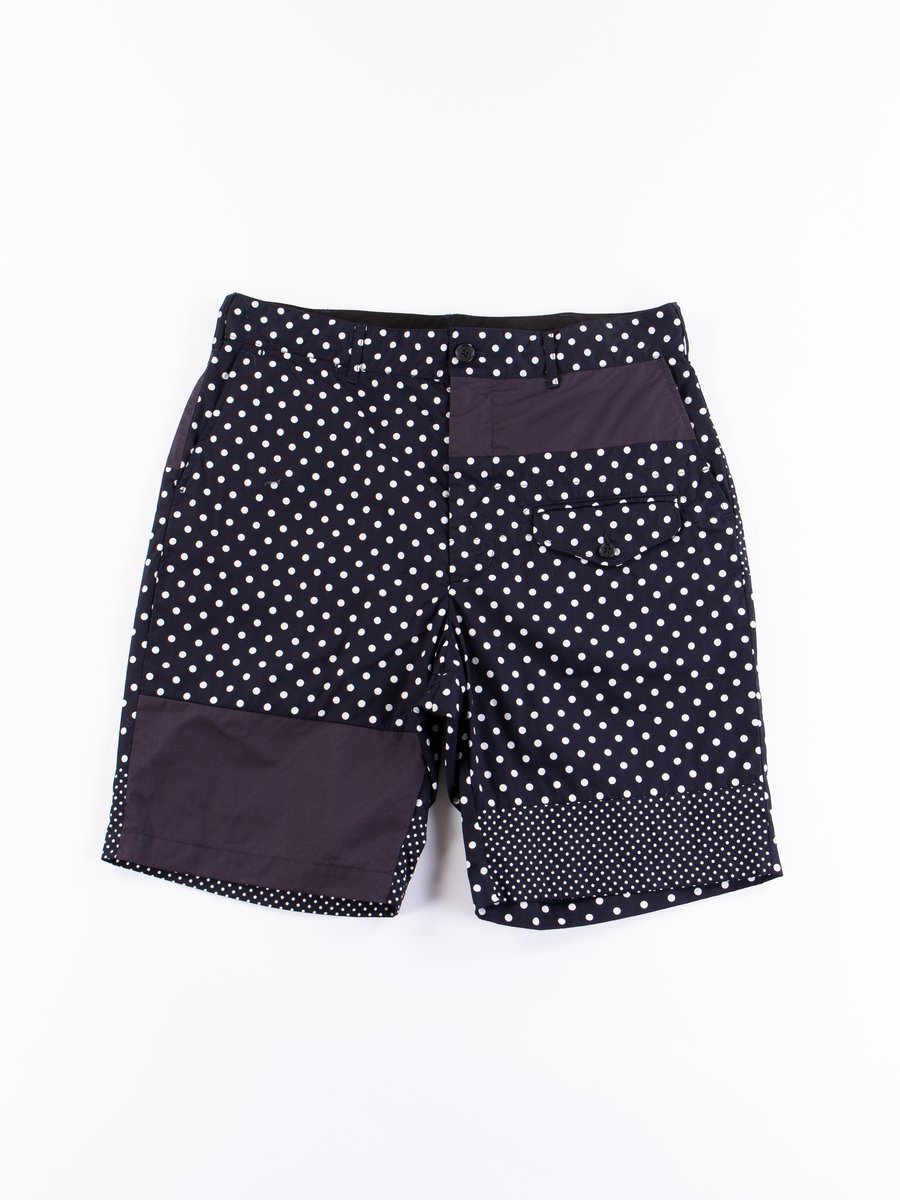 Dark Navy Big Polka Dot Broadcloth Ghurka Short