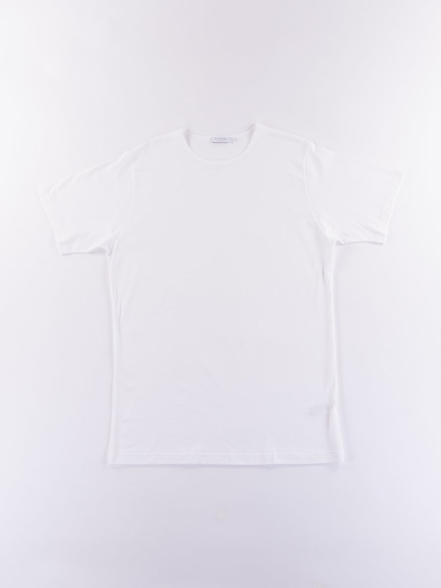White Superfine Cotton Crew Neck T–Shirt