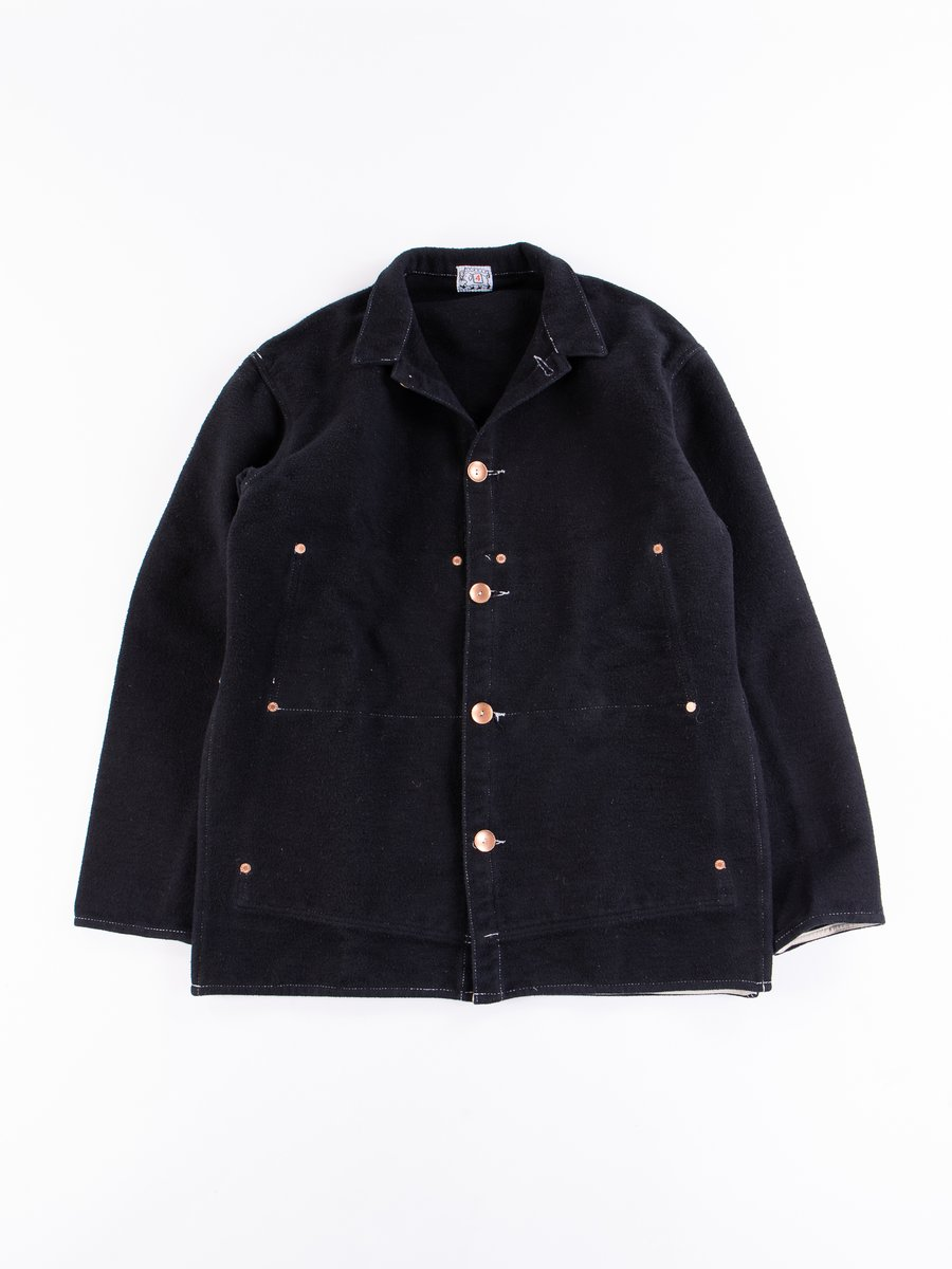 Black Cotton Molleton Janus Jacket