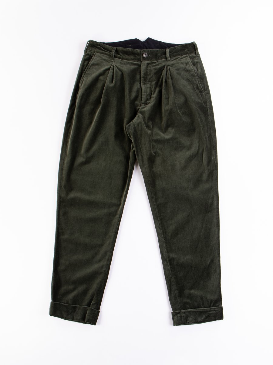 Olive Cotton Velveteen WP Pant