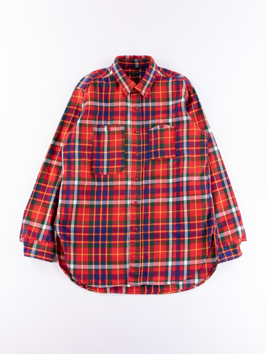 Red/Green/Yellow Cotton Twill Plaid Work Shirt