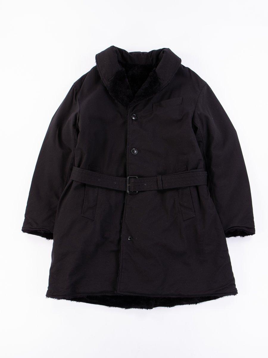 Black Cotton Heavy Twill Shawl Collar Reversible Coat