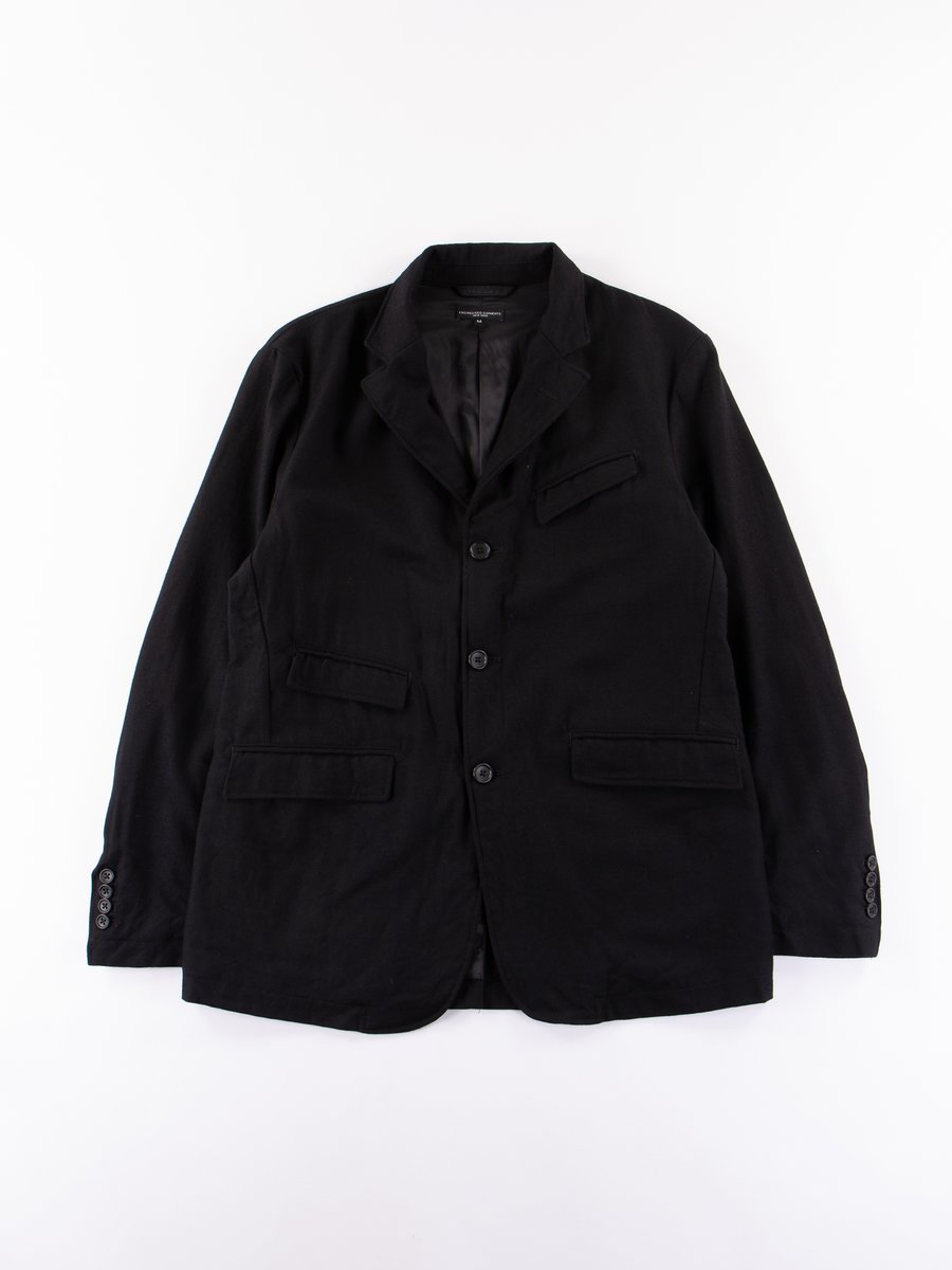 Black Heather Worsted Wool Flannel Andover Jacket