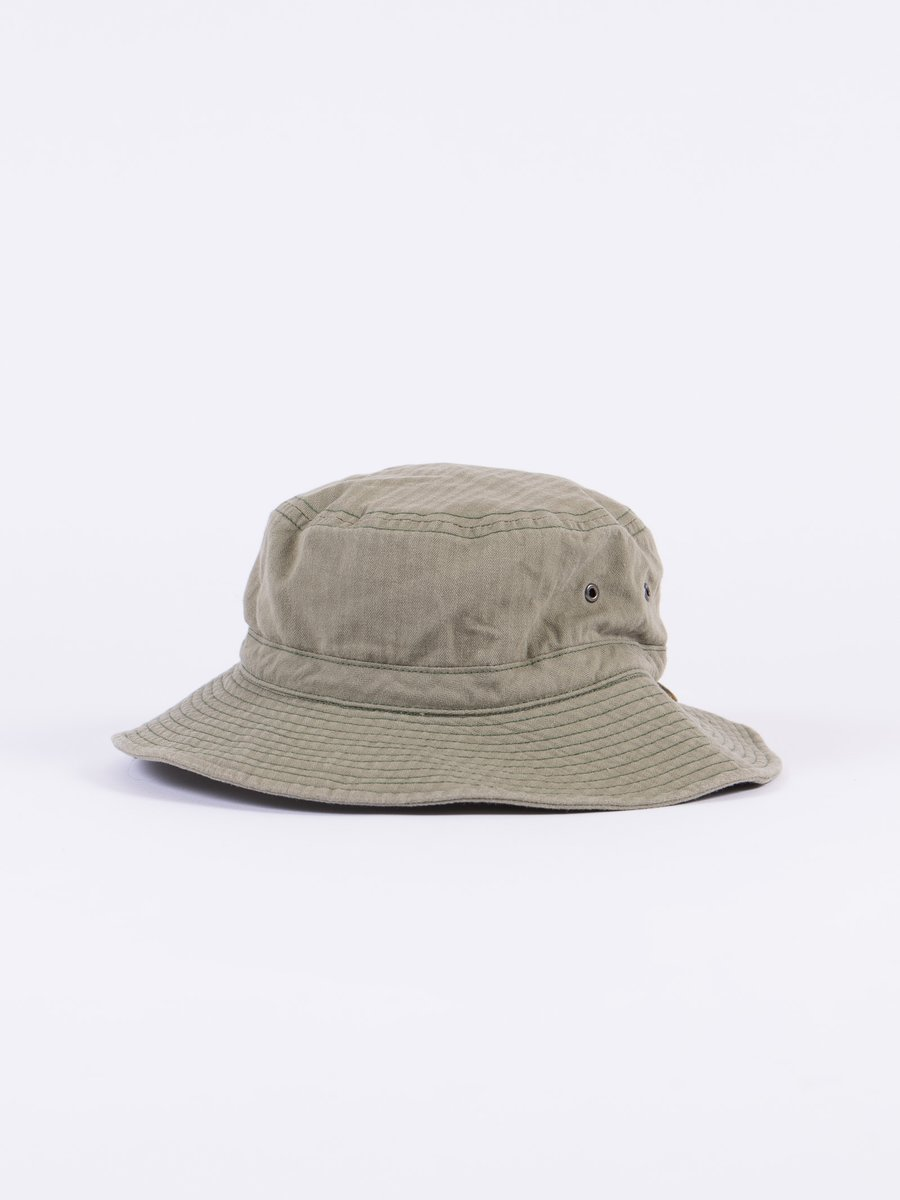 Olive Herringbone Drawcord Hat