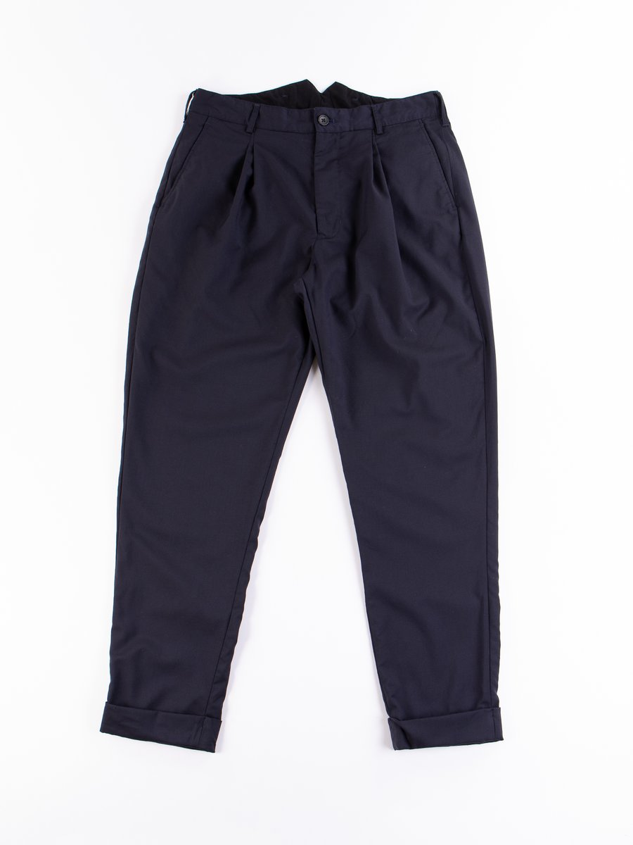 Dark Navy Worsted Wool Gabardine WP Pant
