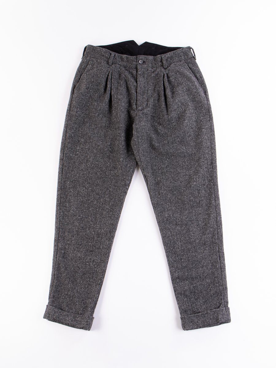 Grey Poly Wool Herringbone WP Pant