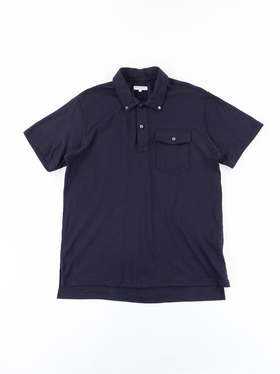 Dark Navy Cotton Jersey Knit Polo