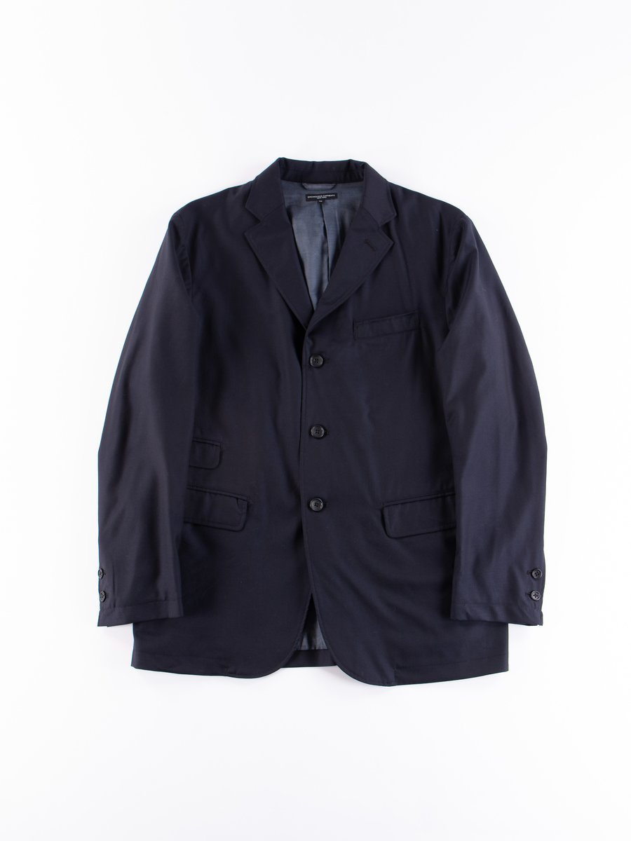 Dark Navy Worsted Wool Gabardine Lawrence Jacket