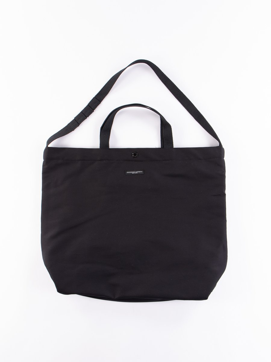 Black Cotton Double Cloth Carry All Tote