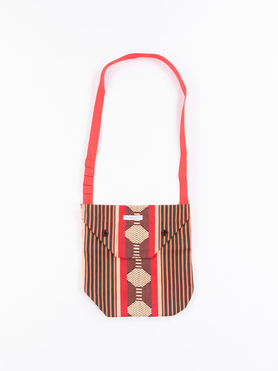 Red Ethnic Jacquard Stripe Shoulder Pouch