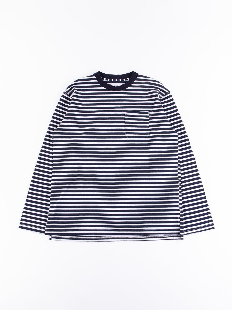 Navy/White PC Stripe Jersey Long Sleeve Crew Neck
