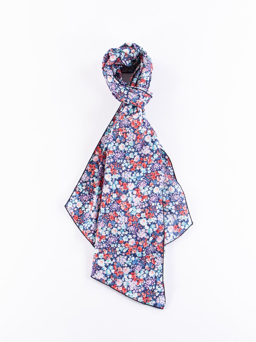 Navy/Red/Light Blue Floral Lawn Long Scarf