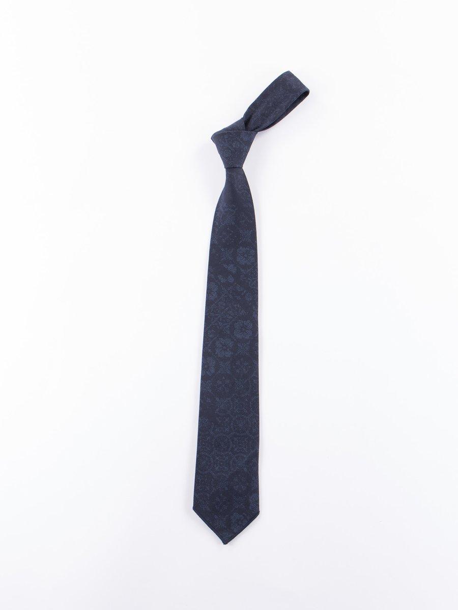 Dark Navy/ Black Floral Geo Jacquard Neck Tie