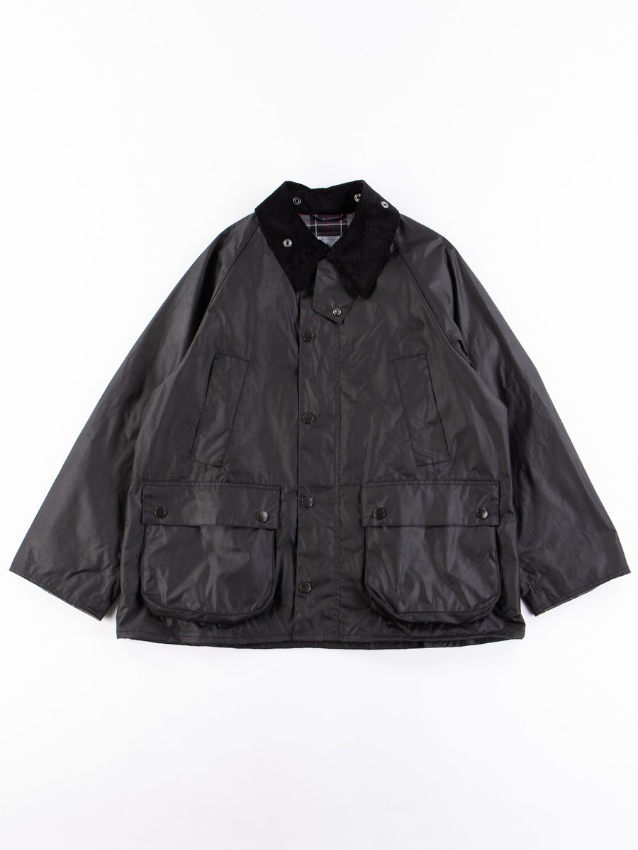 Black Oversized Bedale Waxed Cotton Jacket