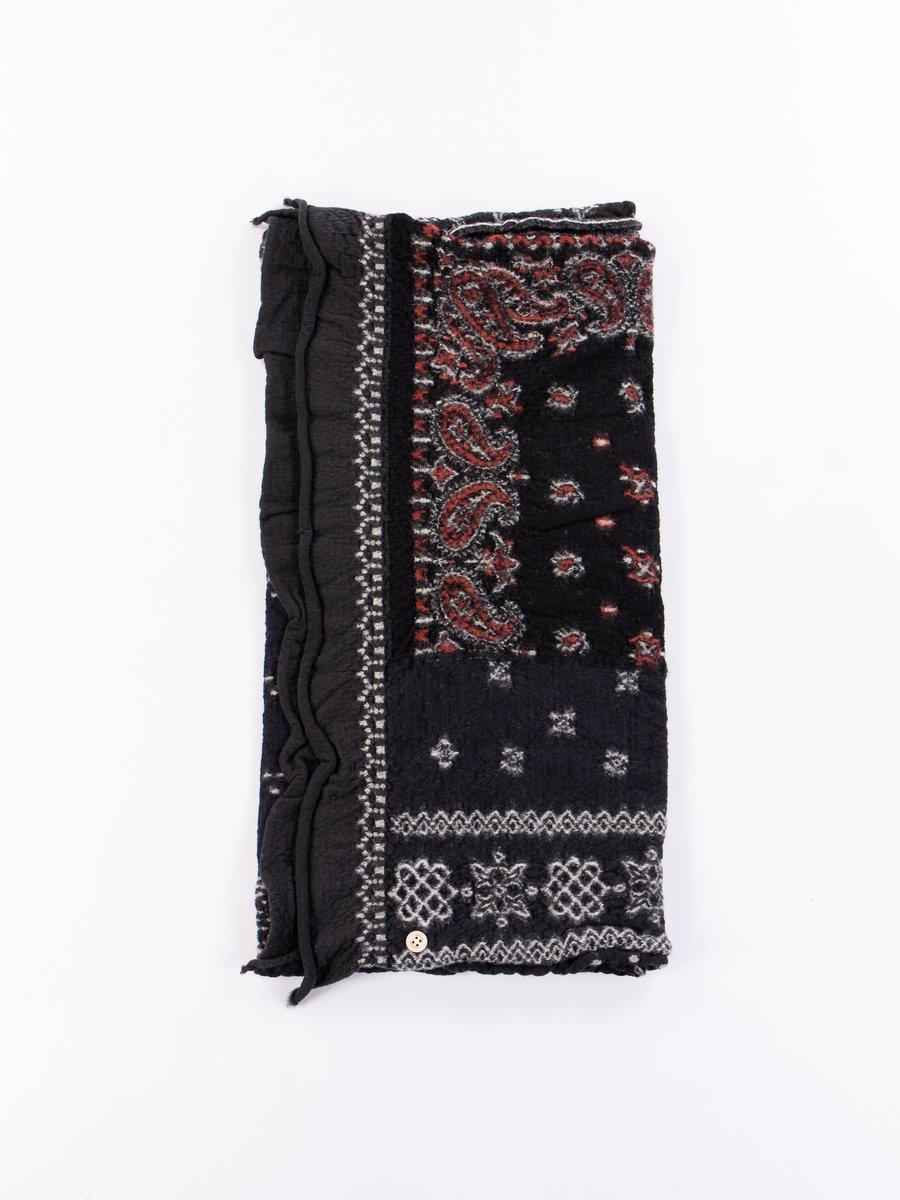 Black Bandana Patchwork Compressed Wool Scarf