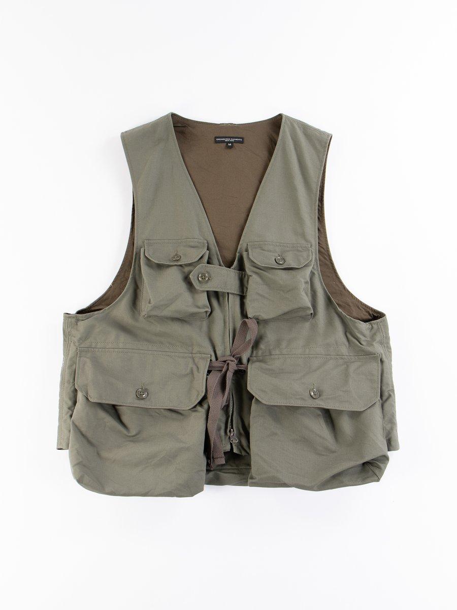 Olive Cotton Double Cloth Game Vest