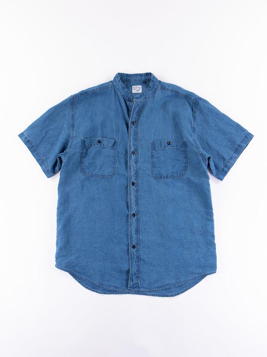 Indigo Stand Collar Short Sleeve Shirt