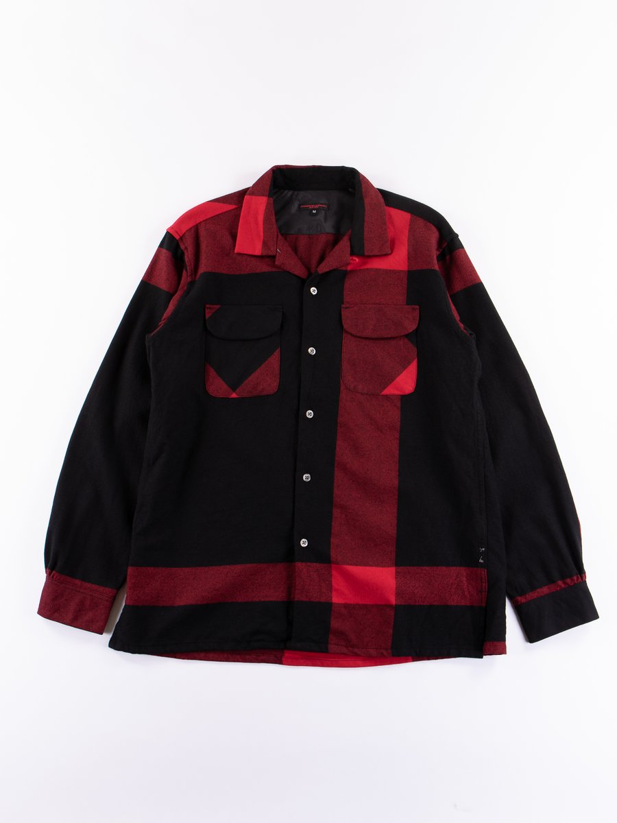 Black/Red Big Plaid Worsted Wool Flannel Classic Shirt