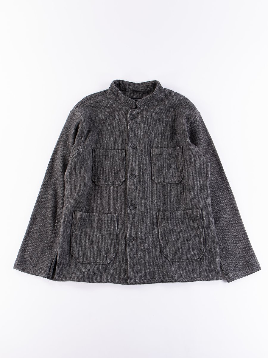 Grey Poly Wool Herringbone Dayton Shirt