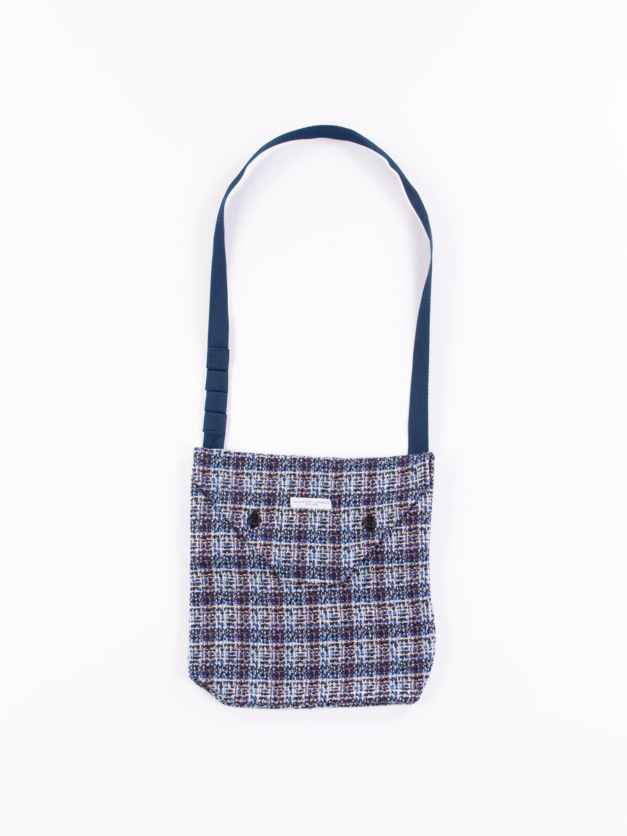 Blue Cotton Poly Tweed Shoulder Pouch
