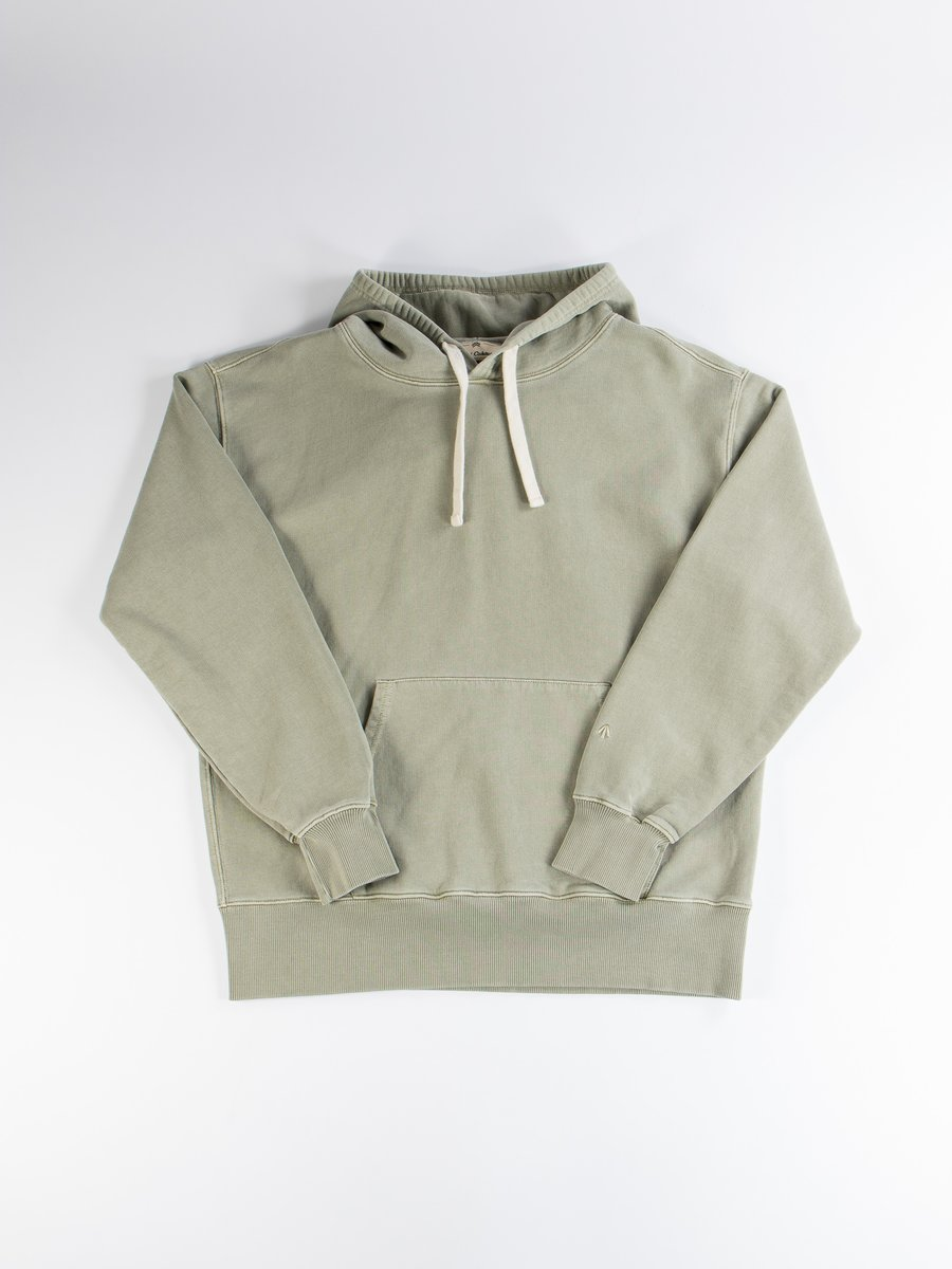 Washed Army Embroidered Logo Crew Hoodie