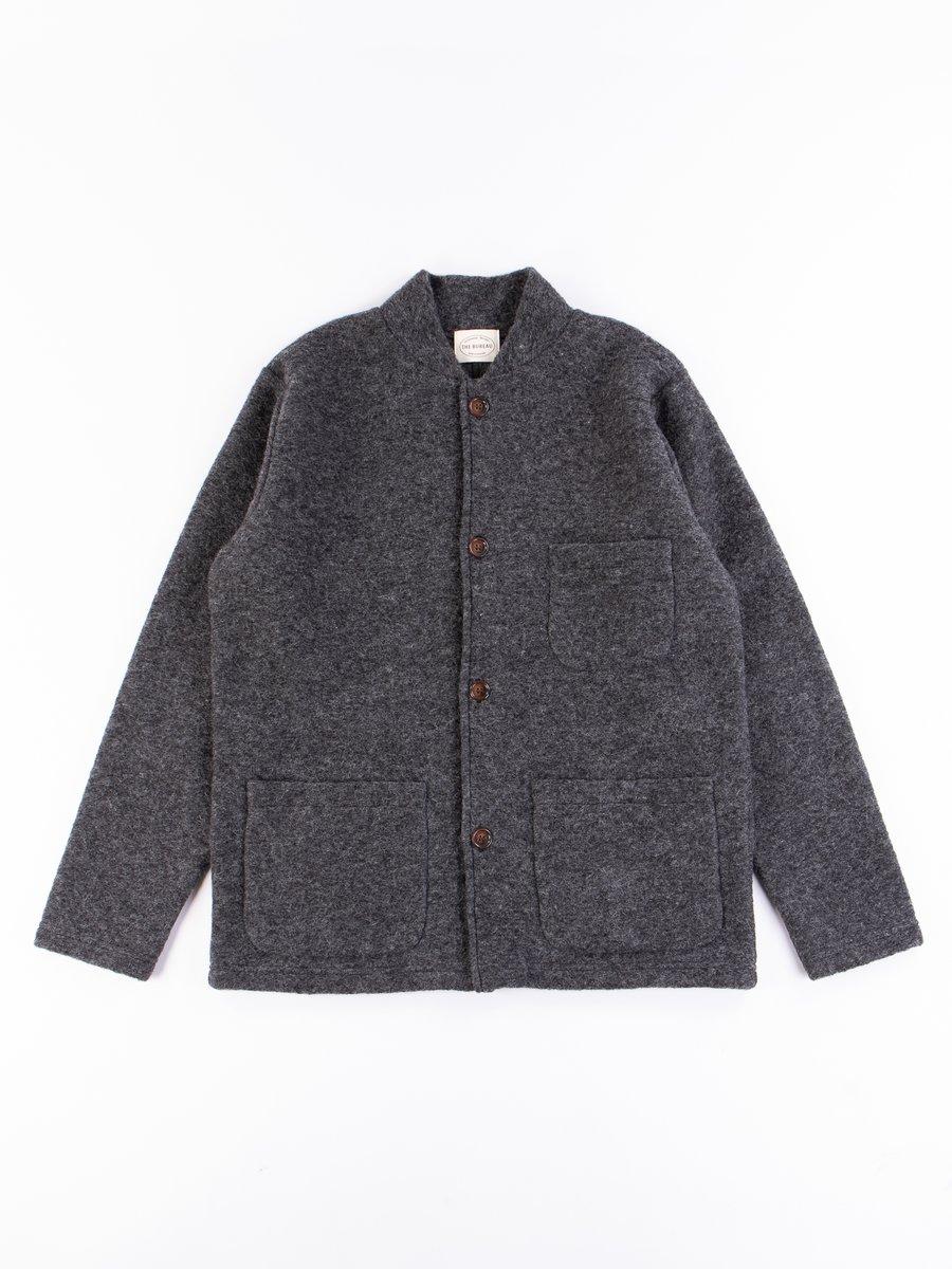 Charcoal Wool Fleece Knitwork Jacket