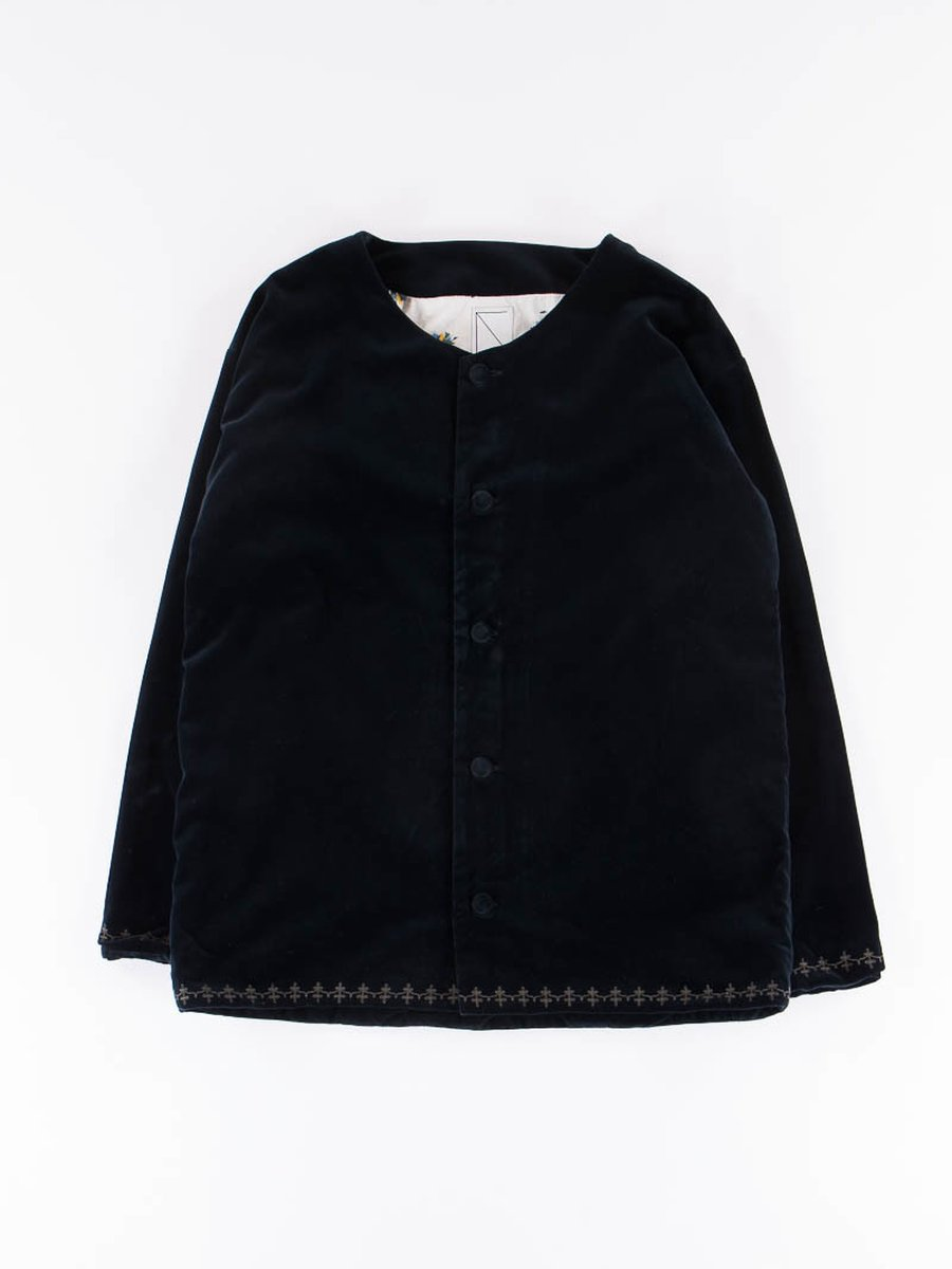 Navy Oriental Velveteen Jacket
