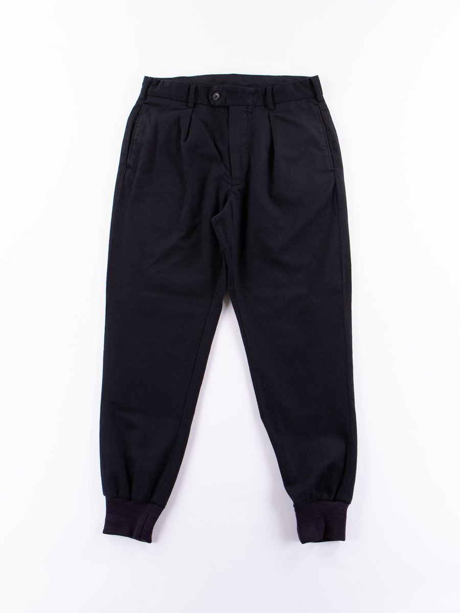 Dark Navy Wool Coton Flannel Sunset Pant