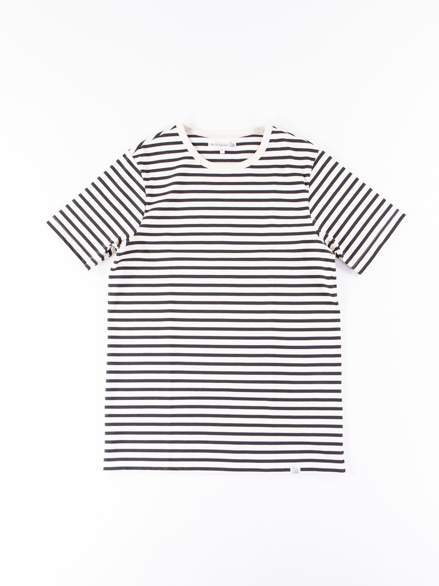Natural/Charcoal Stripe 2M15 Crew Neck Tee