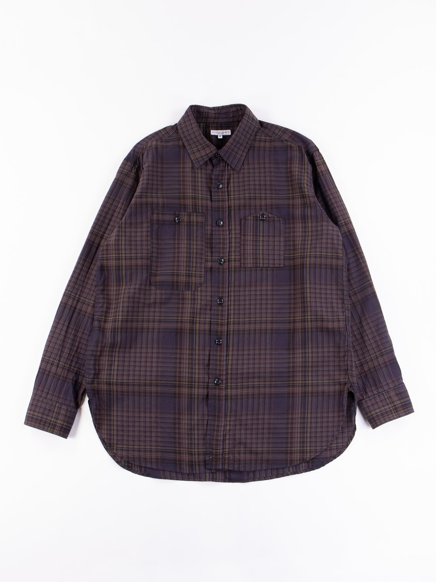 Dark Multi Color Madras Check Work Shirt
