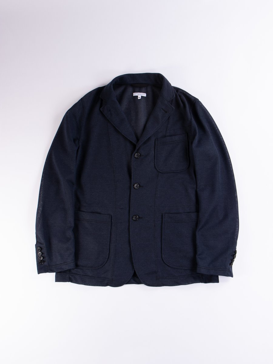 Navy Knit Mesh Knit Jacket