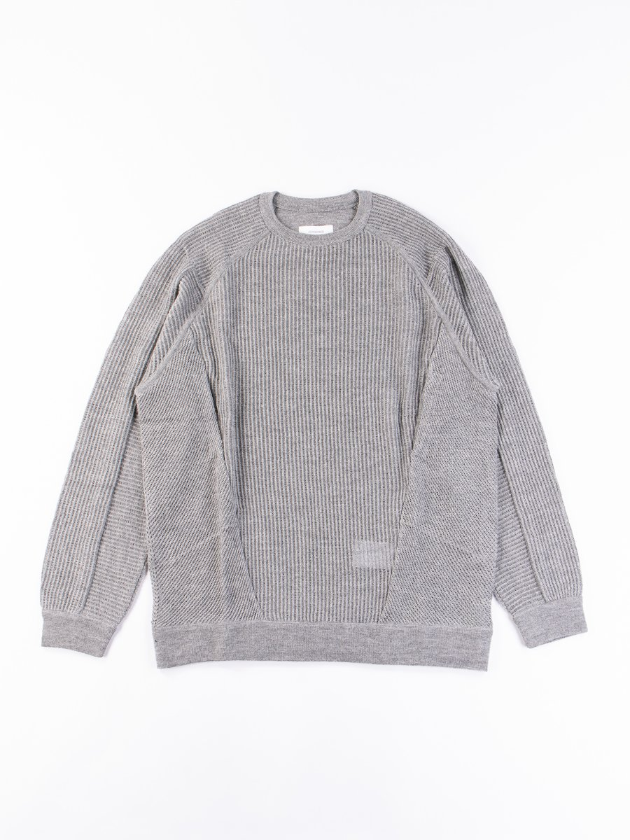 C1–AM Grey Cashllama Silk Mesh Crewneck Sweatshirt
