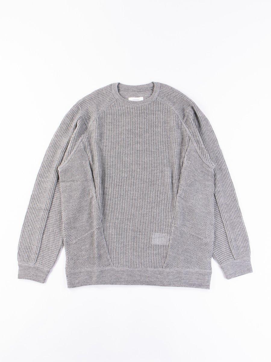 C1–AM Grey Cashllama Silk Mesh Crewneck Sweatshirt