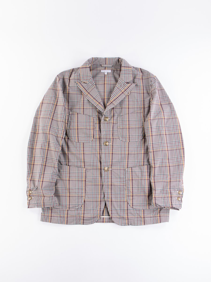 Light Grey Polyester Rayon Glen Plaid NB Jacket