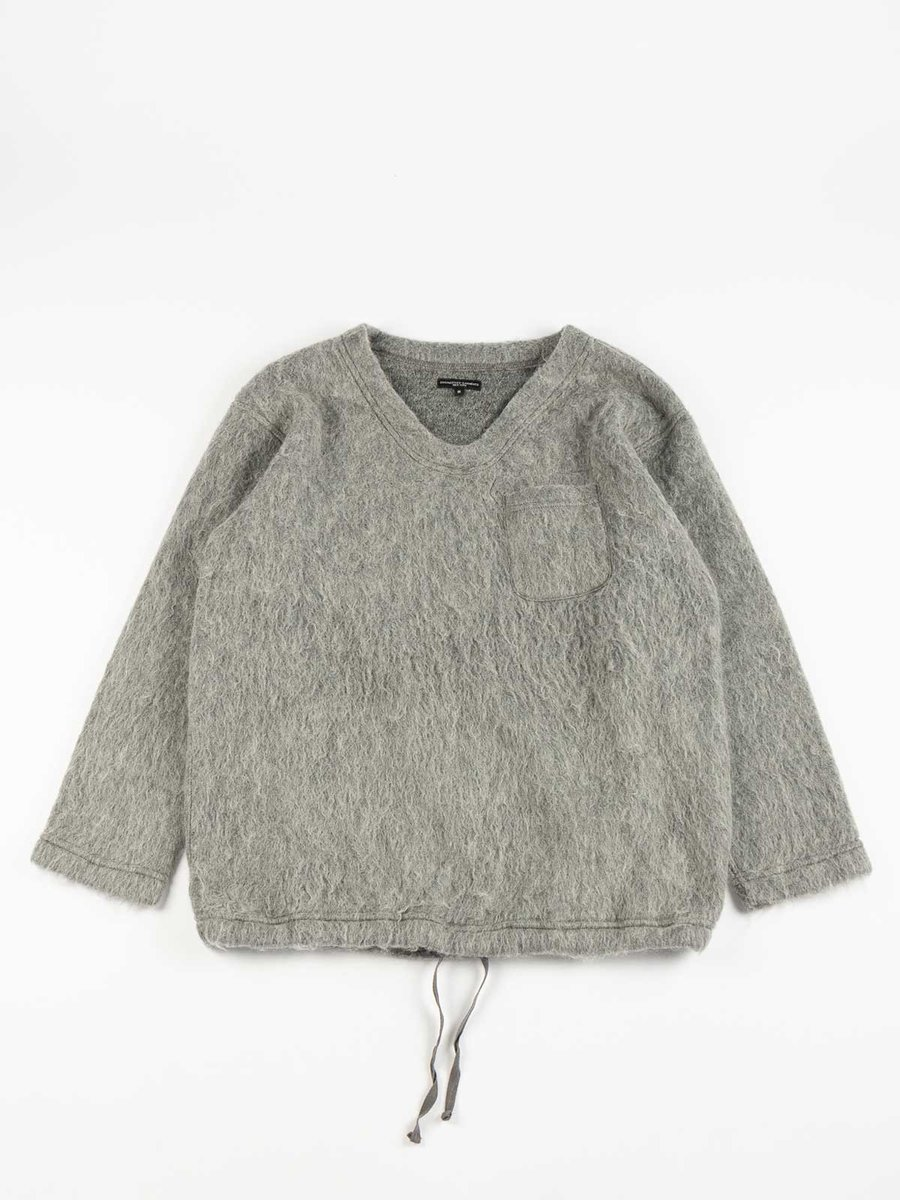 V NECK POPOVER HEATHER GREY SOLID MOHAIR