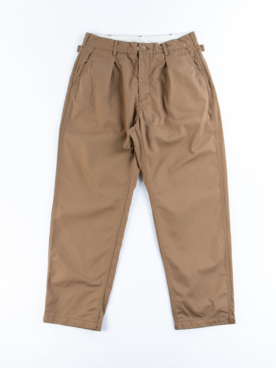 Khaki Cotton Herringbone Twill Ground Pant