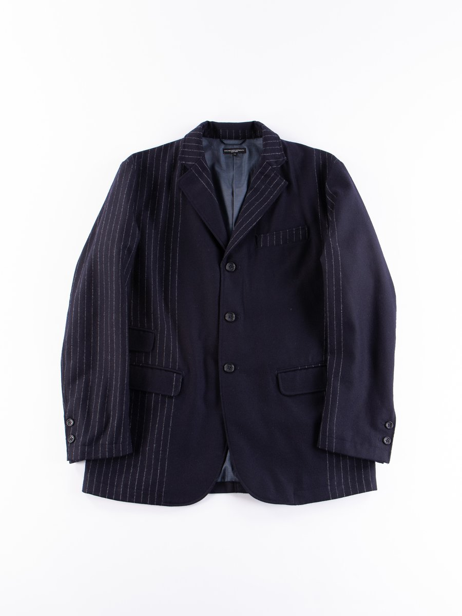 Dark Navy Wool Chalk Stripe Lawrence Jacket