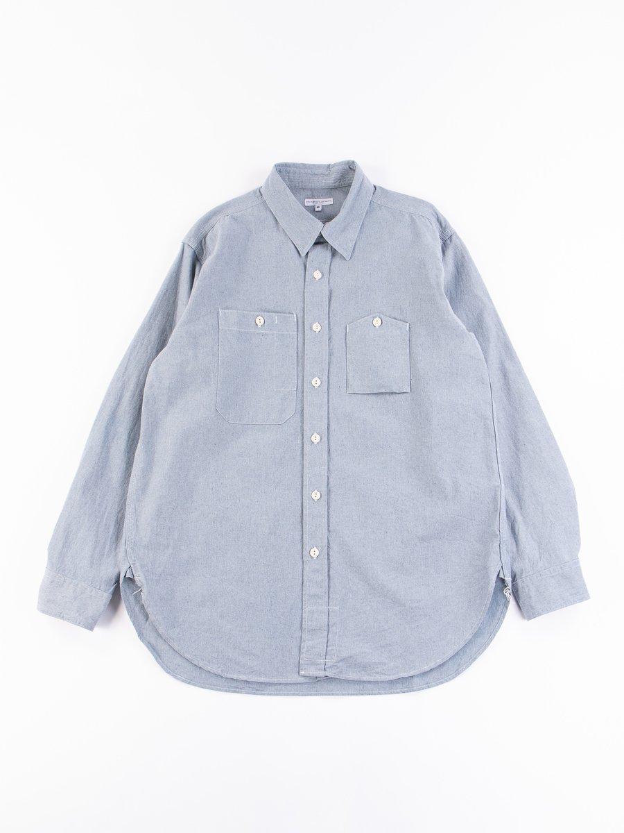 Blue Upcycled Chambray Work Shirt
